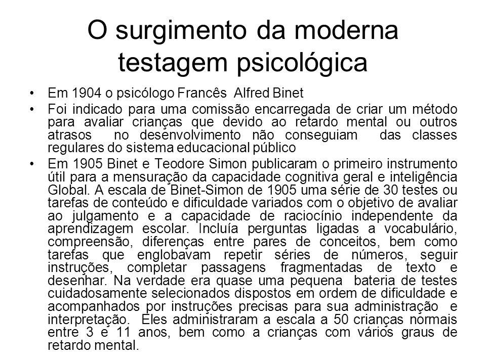 O surgimento da moderna testagem psicológica Em 1904 o psicólogo Francês Alfred Binet Foi indicado para uma comissão encarregada de criar um método pa
