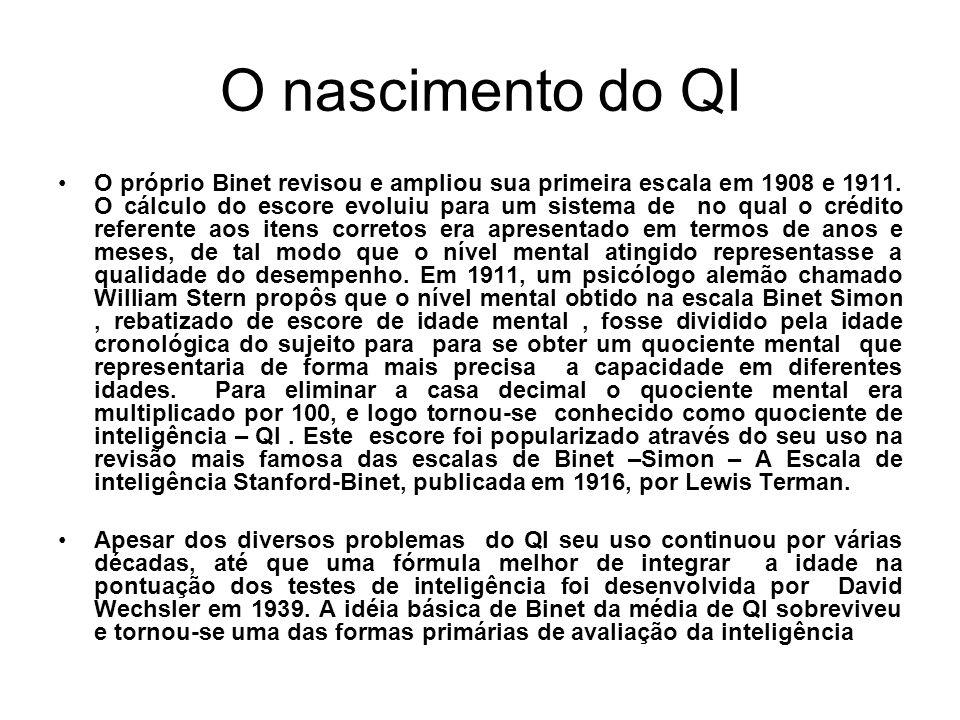 O nascimento do QI O próprio Binet revisou e ampliou sua primeira escala em 1908 e 1911. O cálculo do escore evoluiu para um sistema de no qual o créd