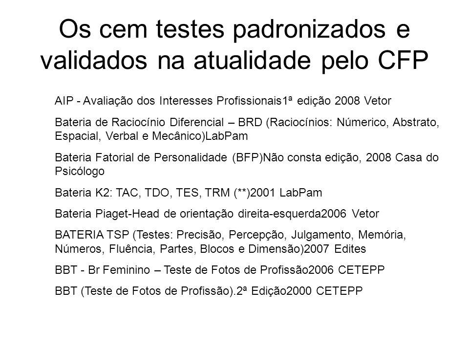 Os cem testes padronizados e validados na atualidade pelo CFP AIP - Avaliação dos Interesses Profissionais1ª edição 2008 Vetor Bateria de Raciocínio D