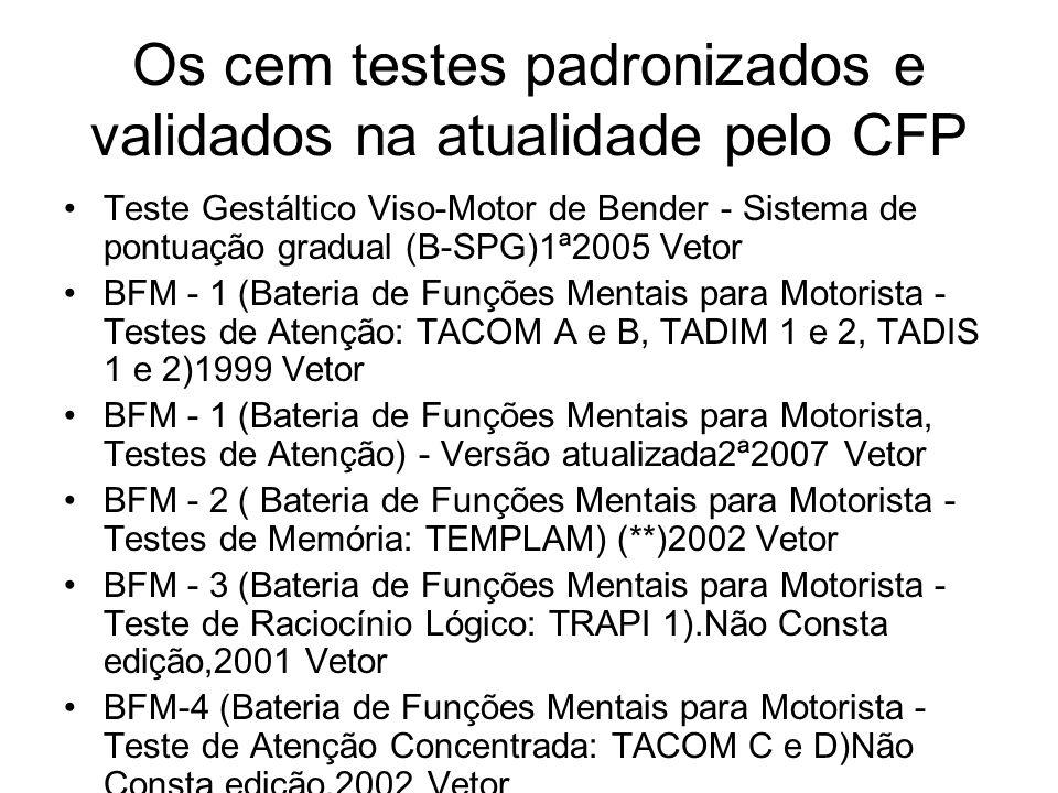 Os cem testes padronizados e validados na atualidade pelo CFP Teste Gestáltico Viso-Motor de Bender - Sistema de pontuação gradual (B-SPG)1ª2005 Vetor
