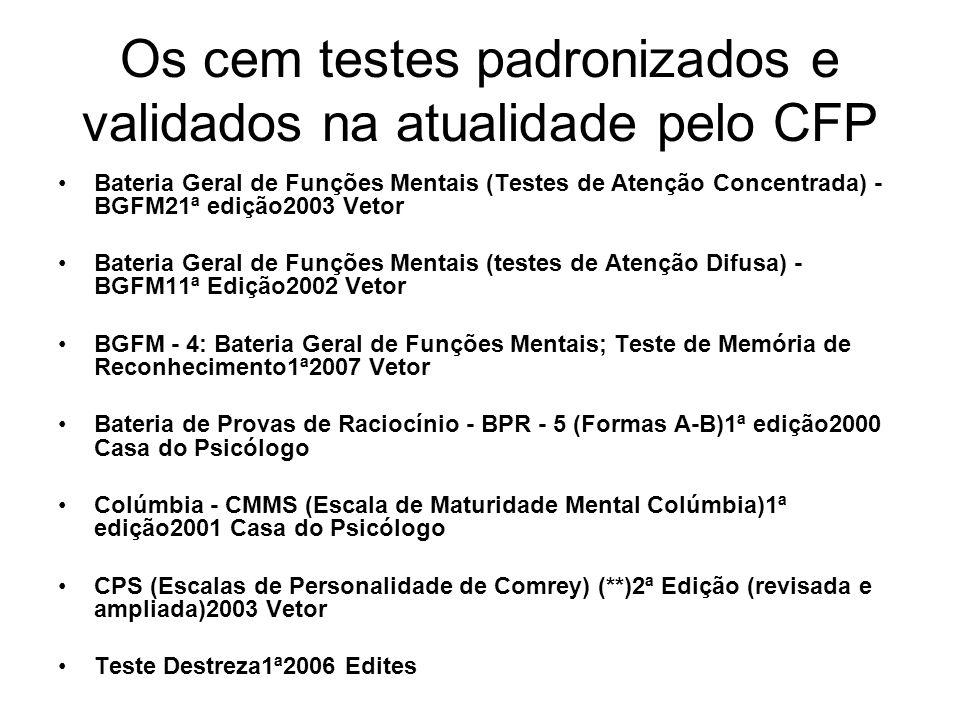 Os cem testes padronizados e validados na atualidade pelo CFP Bateria Geral de Funções Mentais (Testes de Atenção Concentrada) - BGFM21ª edição2003 Ve