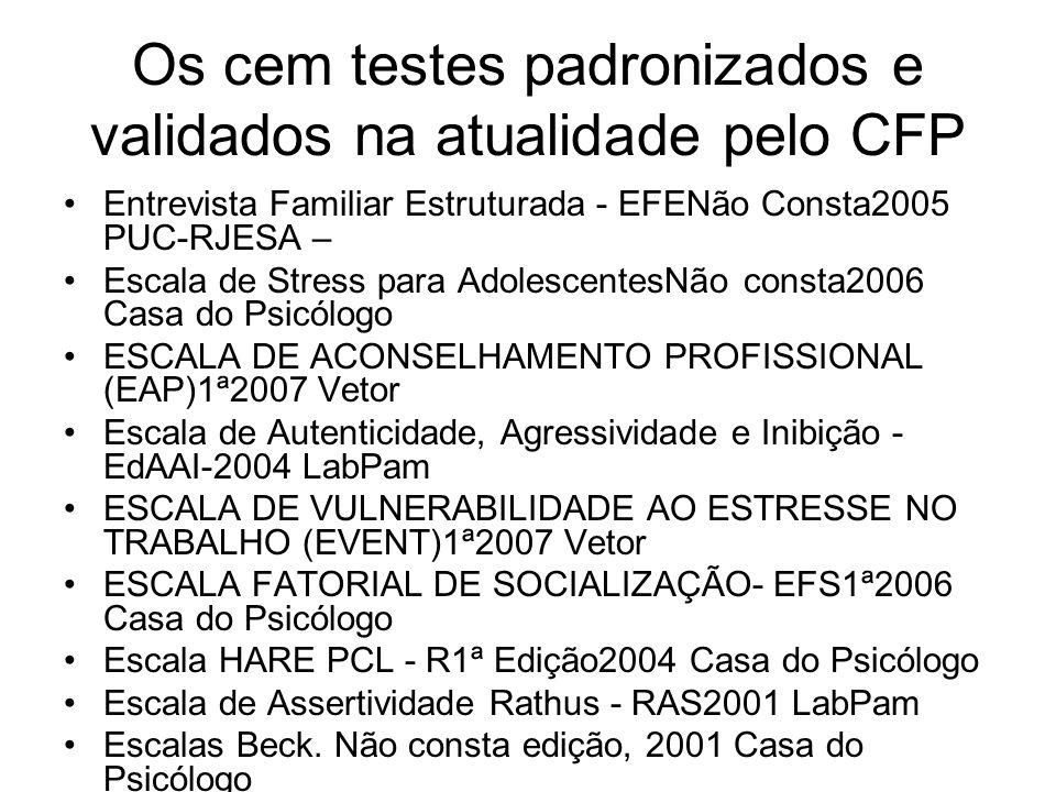 Os cem testes padronizados e validados na atualidade pelo CFP Entrevista Familiar Estruturada - EFENão Consta2005 PUC-RJESA – Escala de Stress para Ad