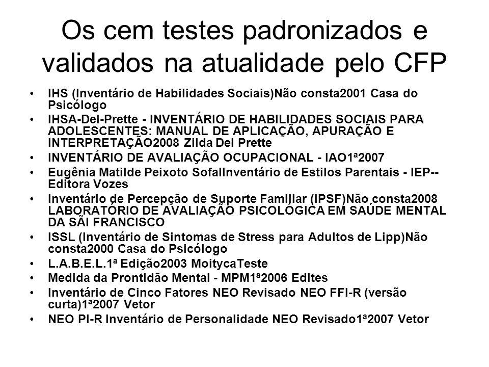 Os cem testes padronizados e validados na atualidade pelo CFP IHS (Inventário de Habilidades Sociais)Não consta2001 Casa do Psicólogo IHSA-Del-Prette