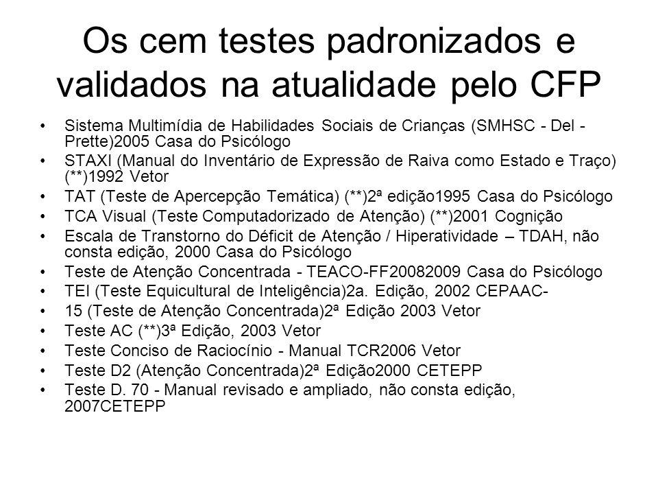 Os cem testes padronizados e validados na atualidade pelo CFP Sistema Multimídia de Habilidades Sociais de Crianças (SMHSC - Del - Prette)2005 Casa do