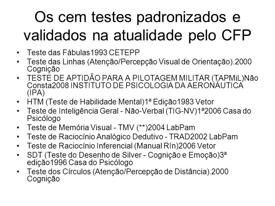 Os cem testes padronizados e validados na atualidade pelo CFP Teste das Fábulas1993 CETEPP Teste das Linhas (Atenção/Percepção Visual de Orientação).2