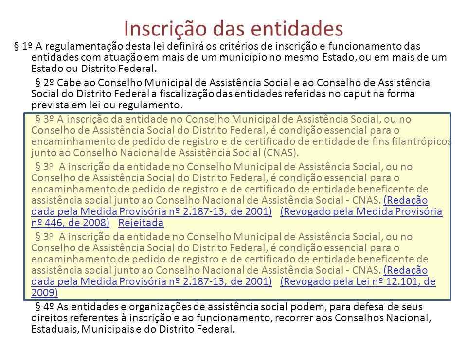 Inscrição das entidades § 1º A regulamentação desta lei definirá os critérios de inscrição e funcionamento das entidades com atuação em mais de um município no mesmo Estado, ou em mais de um Estado ou Distrito Federal.