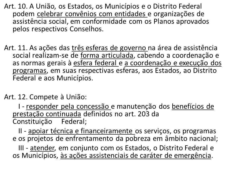 Art. 10. A União, os Estados, os Municípios e o Distrito Federal podem celebrar convênios com entidades e organizações de assistência social, em confo
