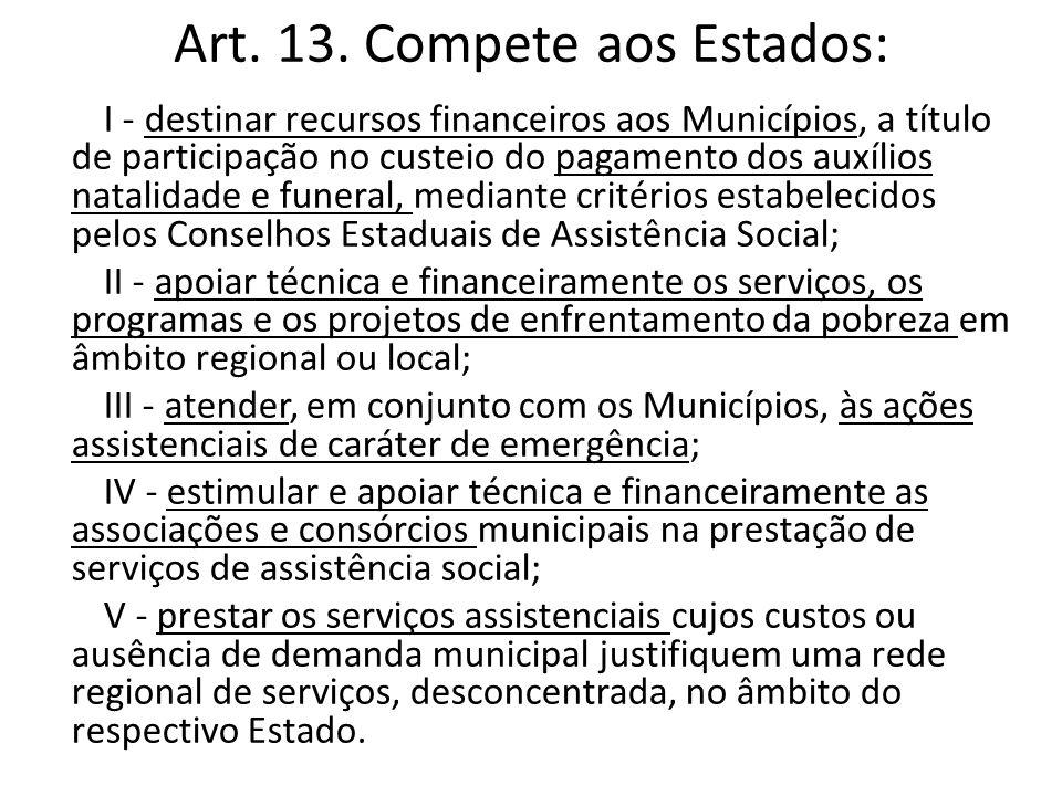 Art. 13. Compete aos Estados: I - destinar recursos financeiros aos Municípios, a título de participação no custeio do pagamento dos auxílios natalida