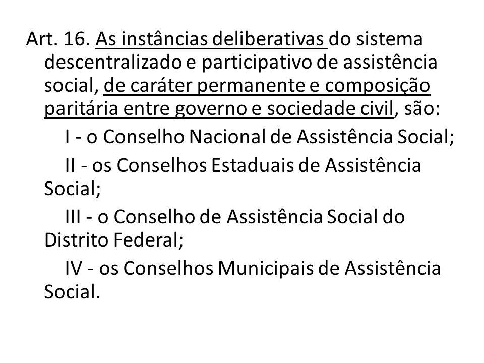 Art. 16. As instâncias deliberativas do sistema descentralizado e participativo de assistência social, de caráter permanente e composição paritária en