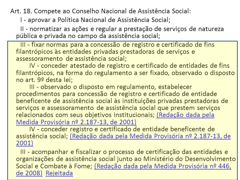 Art. 18. Compete ao Conselho Nacional de Assistência Social: I - aprovar a Política Nacional de Assistência Social; II - normatizar as ações e regular