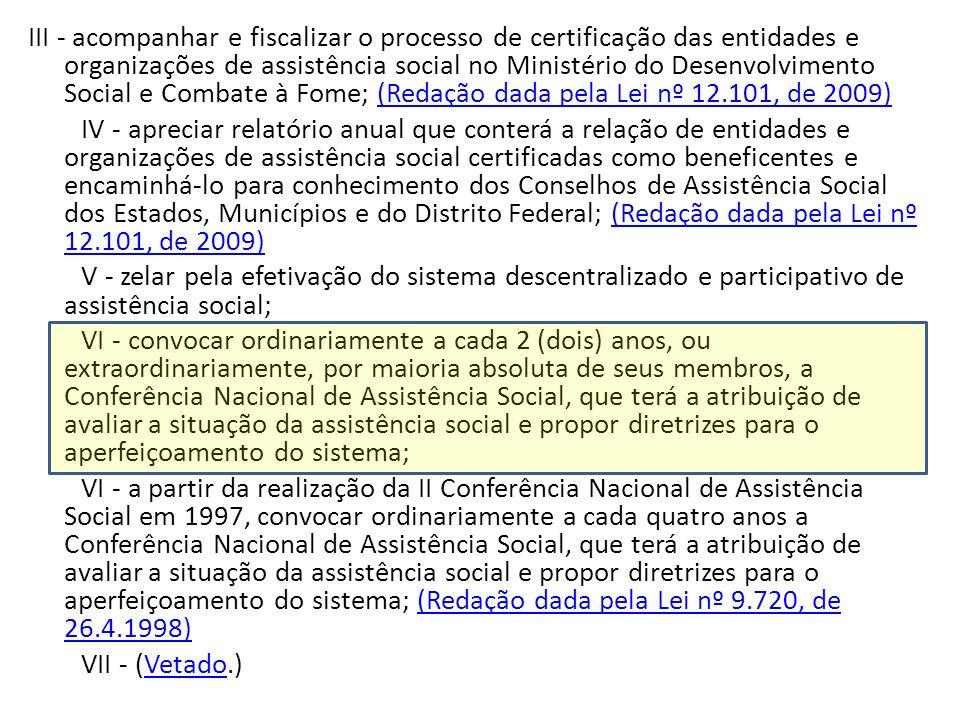 III - acompanhar e fiscalizar o processo de certificação das entidades e organizações de assistência social no Ministério do Desenvolvimento Social e