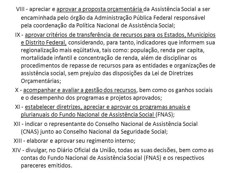 VIII - apreciar e aprovar a proposta orçamentária da Assistência Social a ser encaminhada pelo órgão da Administração Pública Federal responsável pela