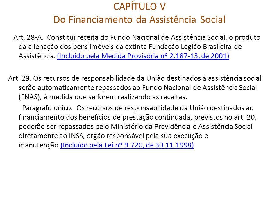 CAPÍTULO V Do Financiamento da Assistência Social Art. 28-A. Constitui receita do Fundo Nacional de Assistência Social, o produto da alienação dos ben