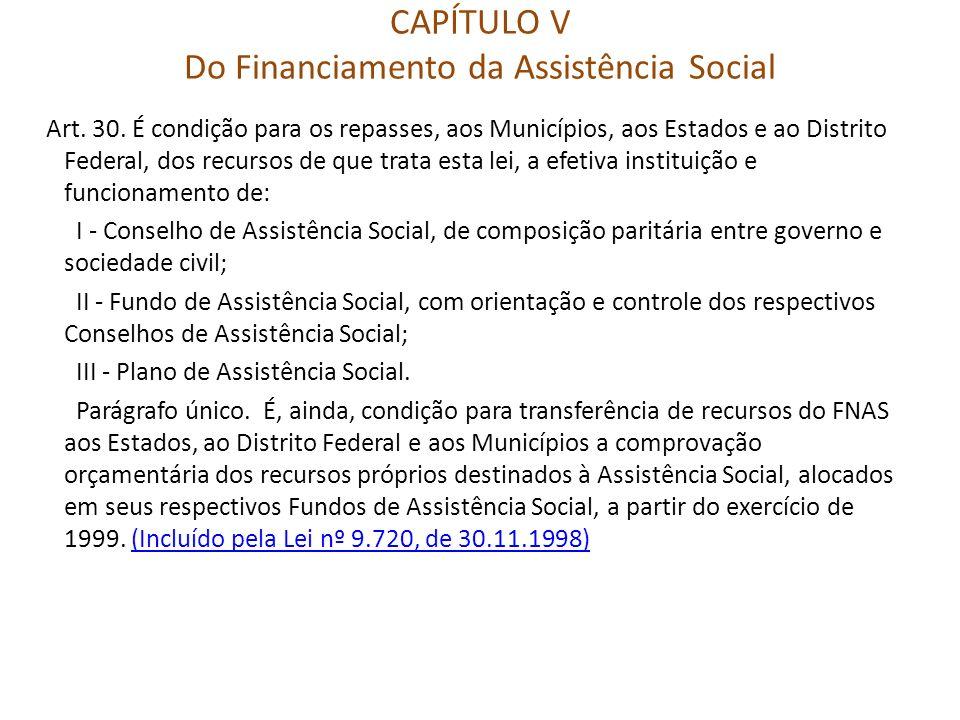 CAPÍTULO V Do Financiamento da Assistência Social Art. 30. É condição para os repasses, aos Municípios, aos Estados e ao Distrito Federal, dos recurso