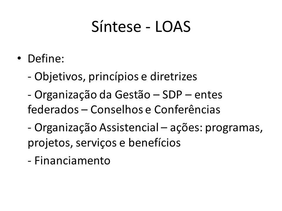 Síntese - LOAS Define: - Objetivos, princípios e diretrizes - Organização da Gestão – SDP – entes federados – Conselhos e Conferências - Organização Assistencial – ações: programas, projetos, serviços e benefícios - Financiamento