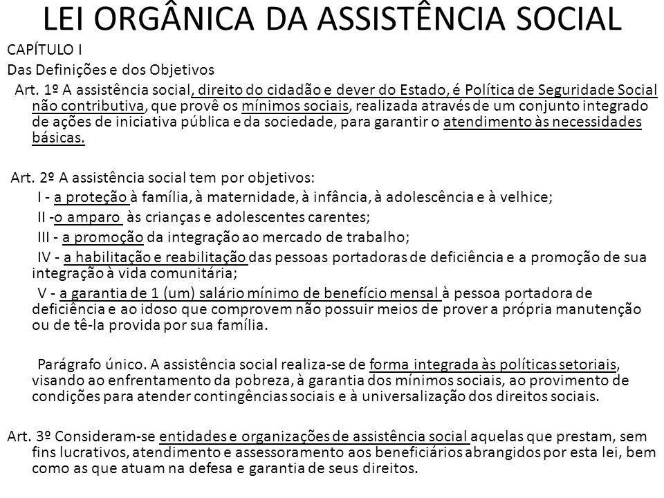 LEI ORGÂNICA DA ASSISTÊNCIA SOCIAL CAPÍTULO I Das Definições e dos Objetivos Art. 1º A assistência social, direito do cidadão e dever do Estado, é Pol