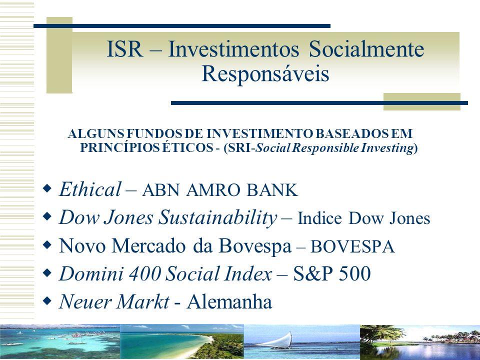 ISR – Investimentos Socialmente Responsáveis ALGUNS FUNDOS DE INVESTIMENTO BASEADOS EM PRINCÍPIOS ÉTICOS - (SRI-Social Responsible Investing) Ethical