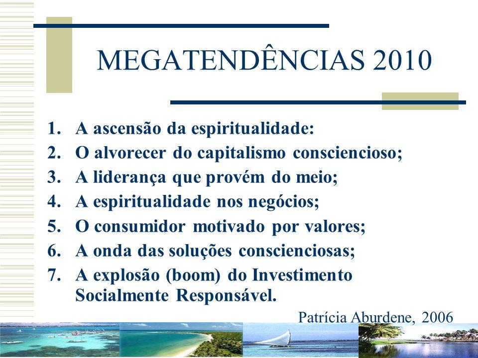 MEGATENDÊNCIAS 2010 1.A ascensão da espiritualidade: 2.O alvorecer do capitalismo consciencioso; 3.A liderança que provém do meio; 4.A espiritualidade