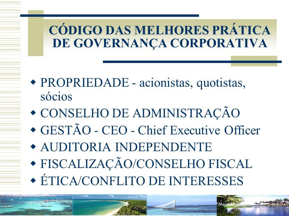 CÓDIGO DAS MELHORES PRÁTICA DE GOVERNANÇA CORPORATIVA PROPRIEDADE - acionistas, quotistas, sócios CONSELHO DE ADMINISTRAÇÃO GESTÃO - CEO - Chief Execu