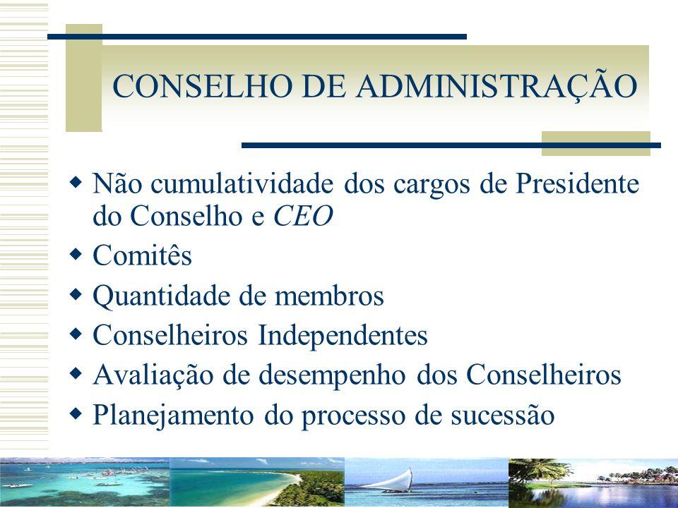 CONSELHO DE ADMINISTRAÇÃO Não cumulatividade dos cargos de Presidente do Conselho e CEO Comitês Quantidade de membros Conselheiros Independentes Avali