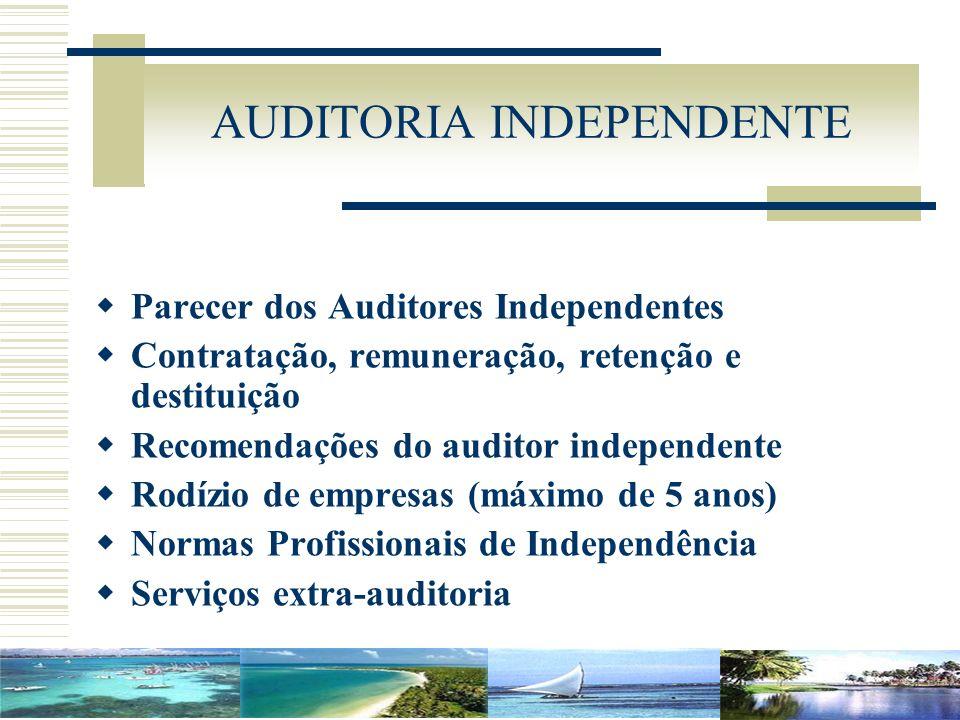 AUDITORIA INDEPENDENTE Parecer dos Auditores Independentes Contratação, remuneração, retenção e destituição Recomendações do auditor independente Rodí