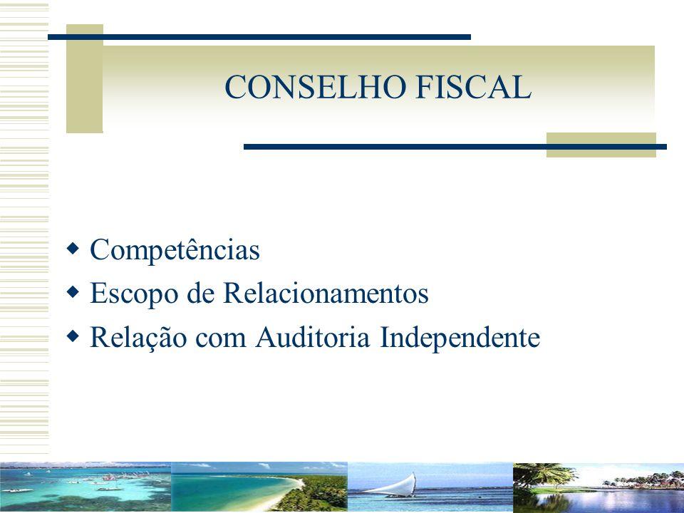 CONSELHO FISCAL Competências Escopo de Relacionamentos Relação com Auditoria Independente