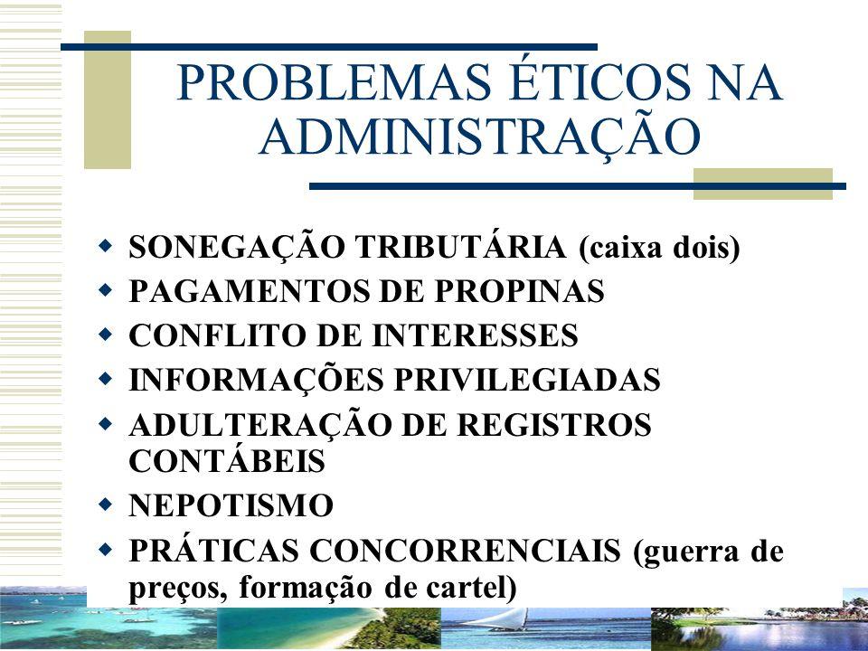 PROBLEMAS ÉTICOS NA ADMINISTRAÇÃO SONEGAÇÃO TRIBUTÁRIA (caixa dois) PAGAMENTOS DE PROPINAS CONFLITO DE INTERESSES INFORMAÇÕES PRIVILEGIADAS ADULTERAÇÃ