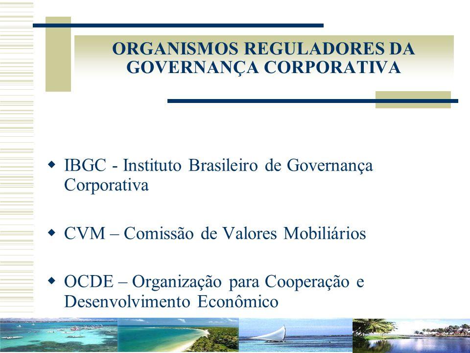 ORGANISMOS REGULADORES DA GOVERNANÇA CORPORATIVA IBGC - Instituto Brasileiro de Governança Corporativa CVM – Comissão de Valores Mobiliários OCDE – Or