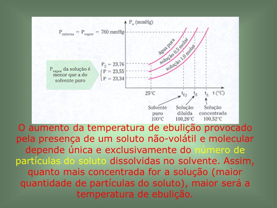 O aumento da temperatura de ebulição provocado pela presença de um soluto não-volátil e molecular depende única e exclusivamente do número de partícul