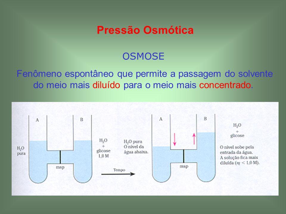Pressão Osmótica OSMOSE Fenômeno espontâneo que permite a passagem do solvente do meio mais diluído para o meio mais concentrado.