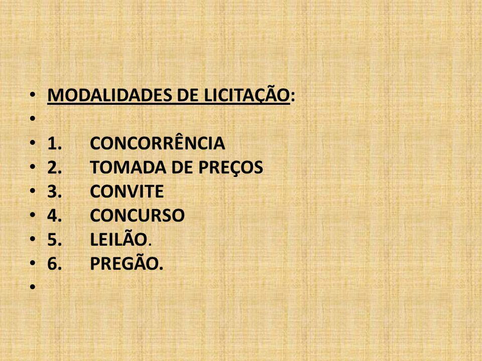 MODALIDADES DE LICITAÇÃO: 1.CONCORRÊNCIA 2. TOMADA DE PREÇOS 3.