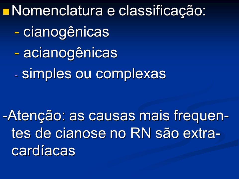 Nomenclatura e classificação: Nomenclatura e classificação: - cianogênicas - acianogênicas - simples ou complexas -Atenção: as causas mais frequen- te