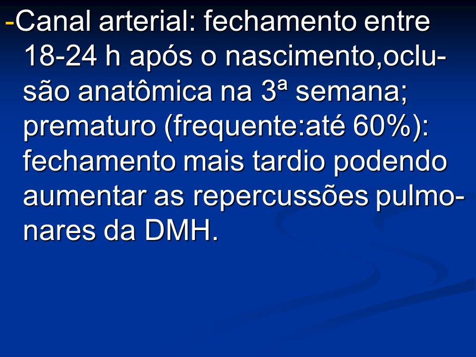 -Canal arterial: fechamento entre 18-24 h após o nascimento,oclu- são anatômica na 3ª semana; prematuro (frequente:até 60%): fechamento mais tardio po