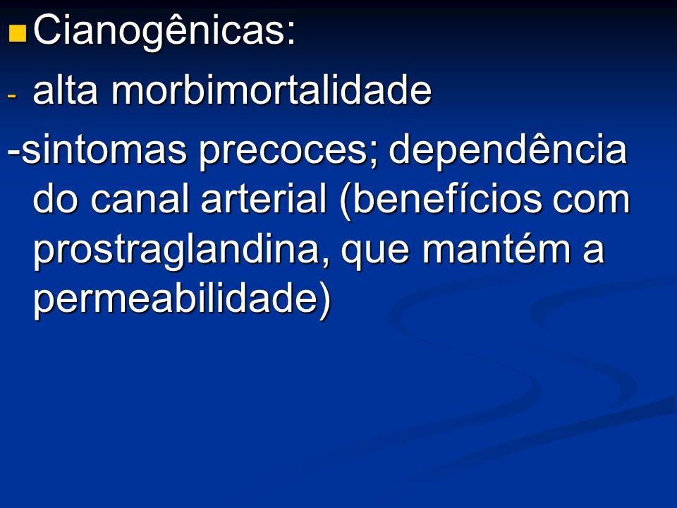 Cianogênicas: Cianogênicas: - alta morbimortalidade -sintomas precoces; dependência do canal arterial (benefícios com prostraglandina, que mantém a pe