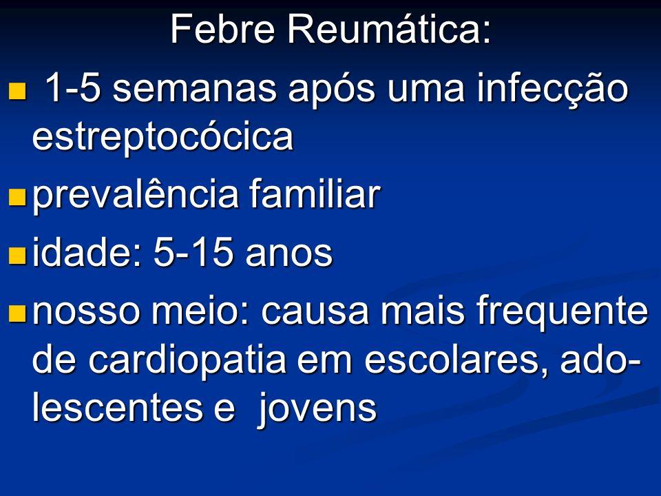 Febre Reumática: 1-5 semanas após uma infecção estreptocócica 1-5 semanas após uma infecção estreptocócica prevalência familiar prevalência familiar i