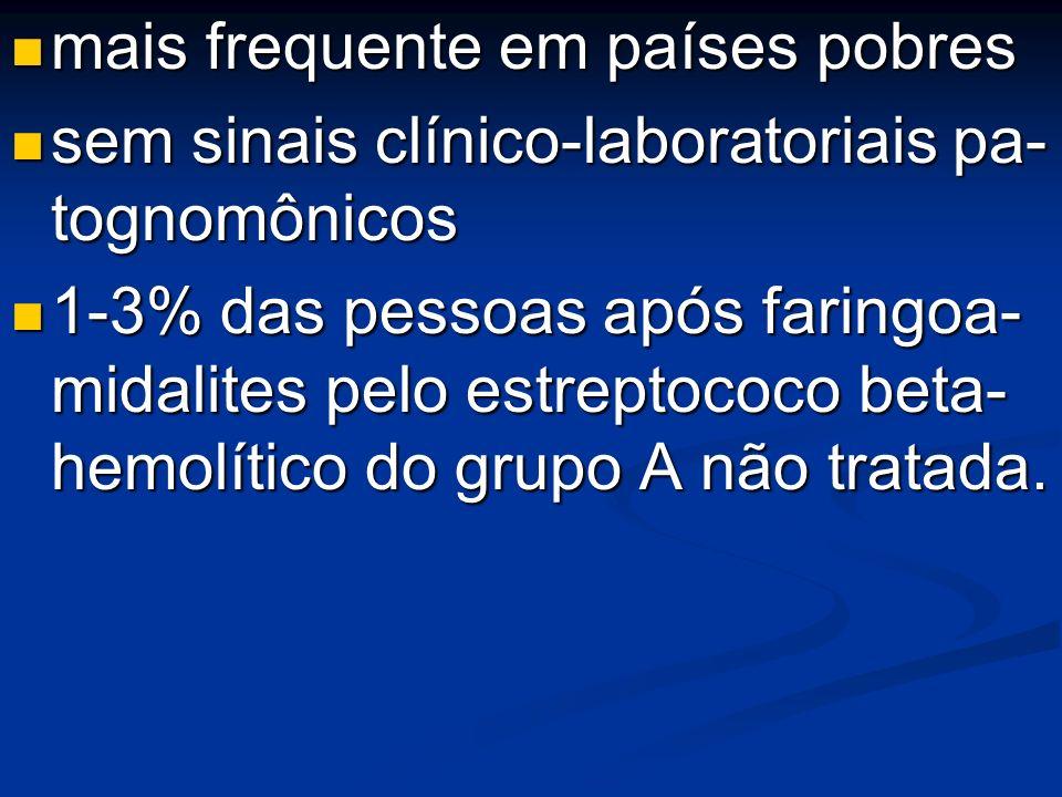 mais frequente em países pobres mais frequente em países pobres sem sinais clínico-laboratoriais pa- tognomônicos sem sinais clínico-laboratoriais pa-