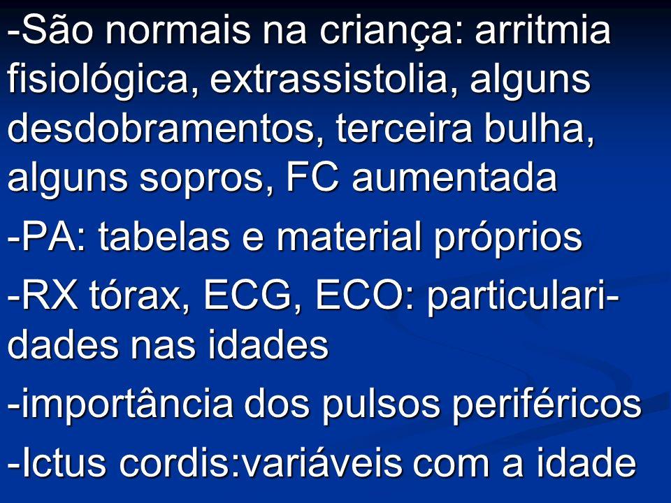 -São normais na criança: arritmia fisiológica, extrassistolia, alguns desdobramentos, terceira bulha, alguns sopros, FC aumentada -PA: tabelas e mater