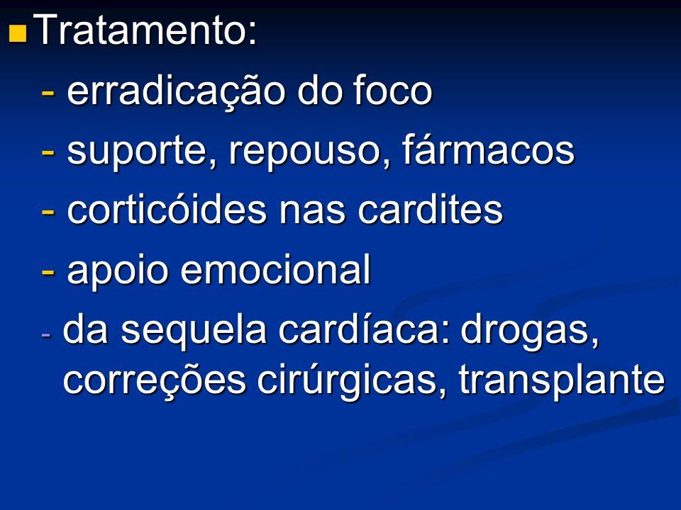 Tratamento: Tratamento: - erradicação do foco - suporte, repouso, fármacos - corticóides nas cardites - apoio emocional - da sequela cardíaca: drogas,