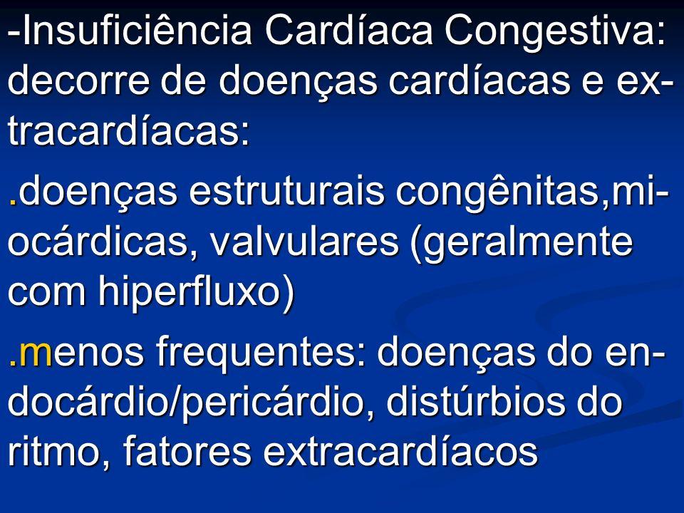 -Insuficiência Cardíaca Congestiva: decorre de doenças cardíacas e ex- tracardíacas:.doenças estruturais congênitas,mi- ocárdicas, valvulares (geralme