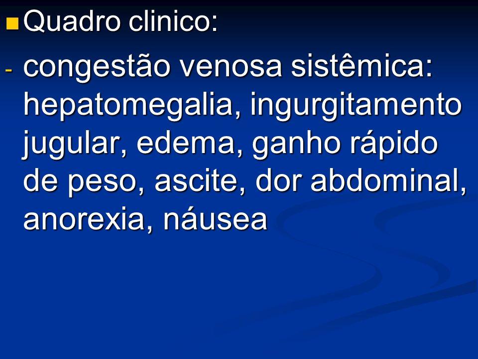 Quadro clinico: Quadro clinico: - congestão venosa sistêmica: hepatomegalia, ingurgitamento jugular, edema, ganho rápido de peso, ascite, dor abdomina