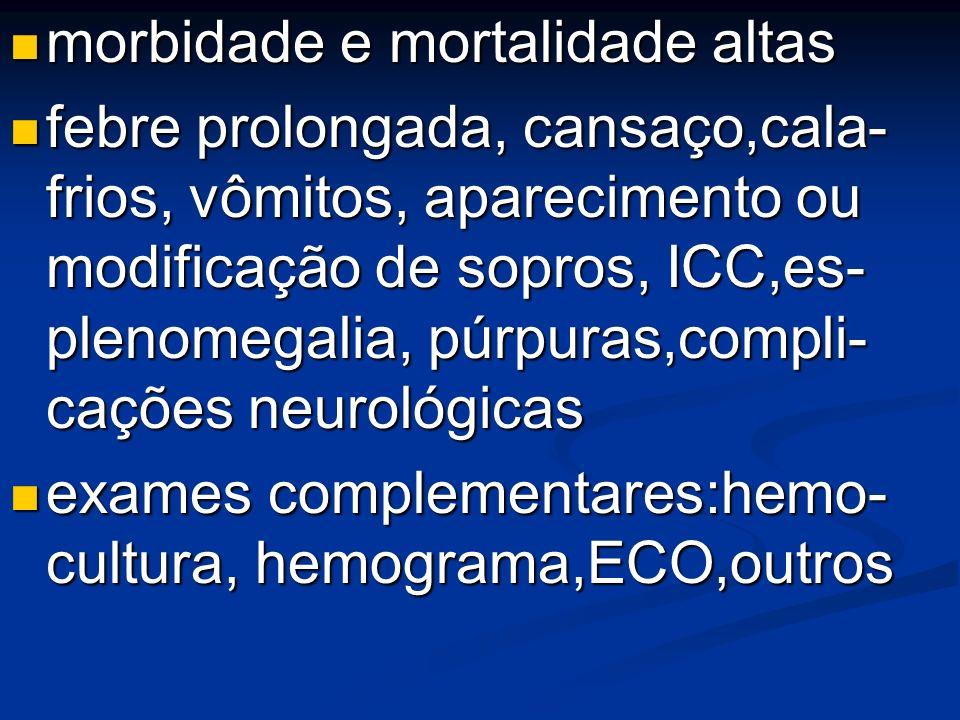 morbidade e mortalidade altas morbidade e mortalidade altas febre prolongada, cansaço,cala- frios, vômitos, aparecimento ou modificação de sopros, ICC