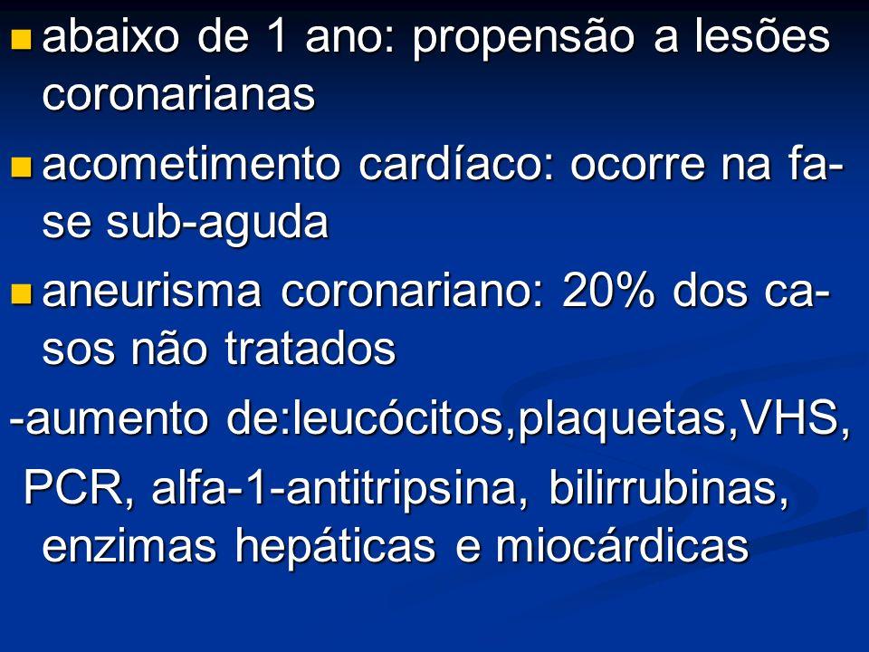 abaixo de 1 ano: propensão a lesões coronarianas abaixo de 1 ano: propensão a lesões coronarianas acometimento cardíaco: ocorre na fa- se sub-aguda ac