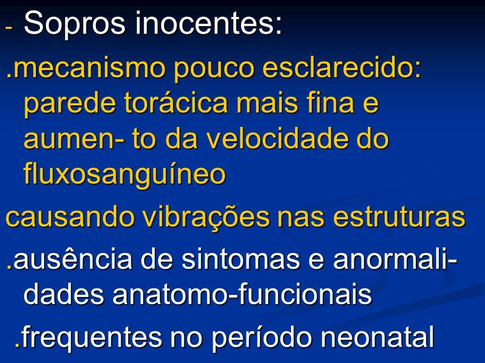 Sopros inocentes: Sopros inocentes:.sistólicos ou contínuos(sopro veno- so).intensidade baixa, sem estalidos, irradiação discreta, curta duração, de ejeção, pulsos periféricos e PA normais, aumentam nos estados hiperdinâmicos e no decúbito.RX, ECG e ECO normais.RX, ECG e ECO normais