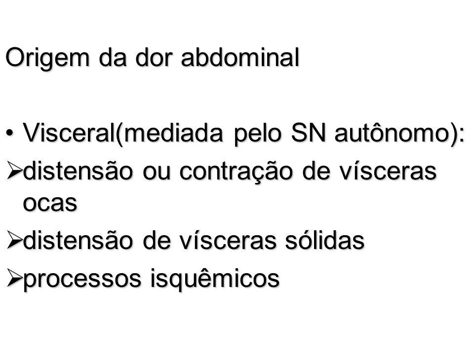 Origem da dor abdominal Visceral(mediada pelo SN autônomo):Visceral(mediada pelo SN autônomo): distensão ou contração de vísceras ocas distensão ou co