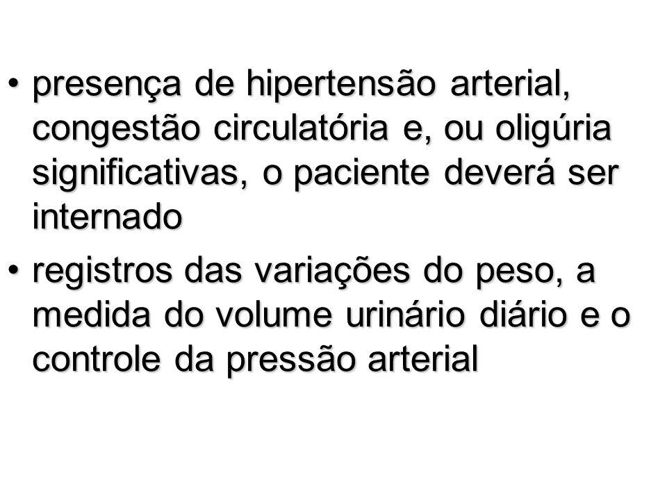 presença de hipertensão arterial, congestão circulatória e, ou oligúria significativas, o paciente deverá ser internadopresença de hipertensão arteria