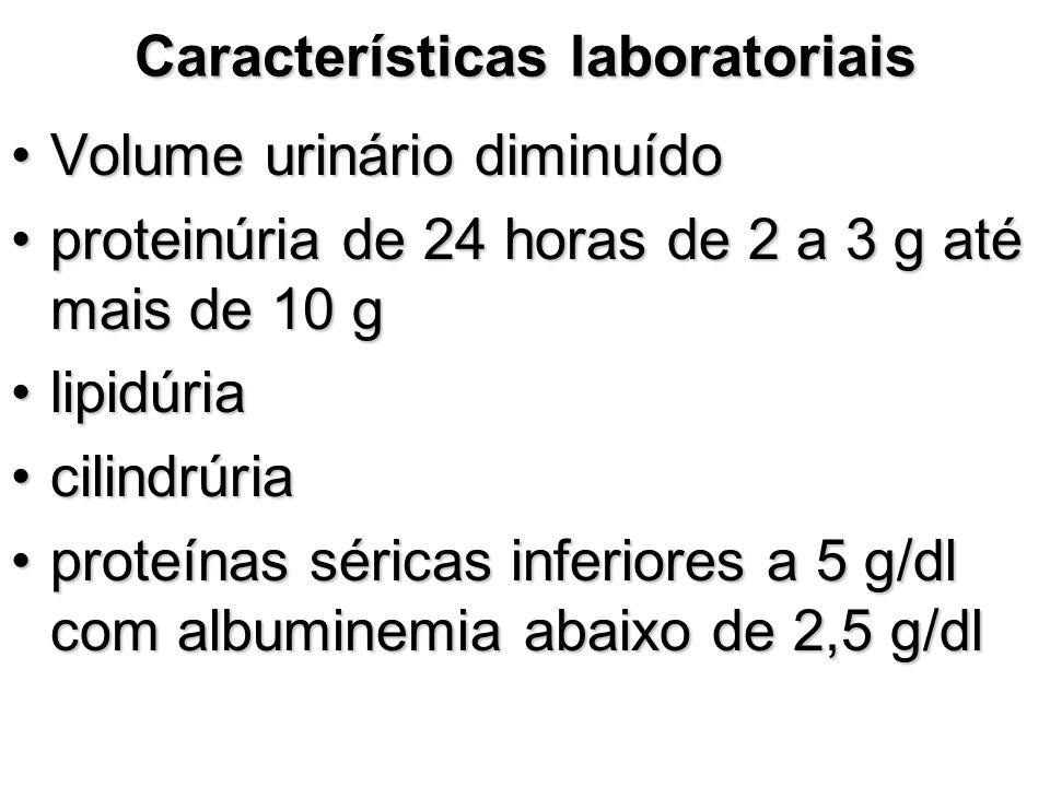 Características laboratoriais Volume urinário diminuídoVolume urinário diminuído proteinúria de 24 horas de 2 a 3 g até mais de 10 gproteinúria de 24