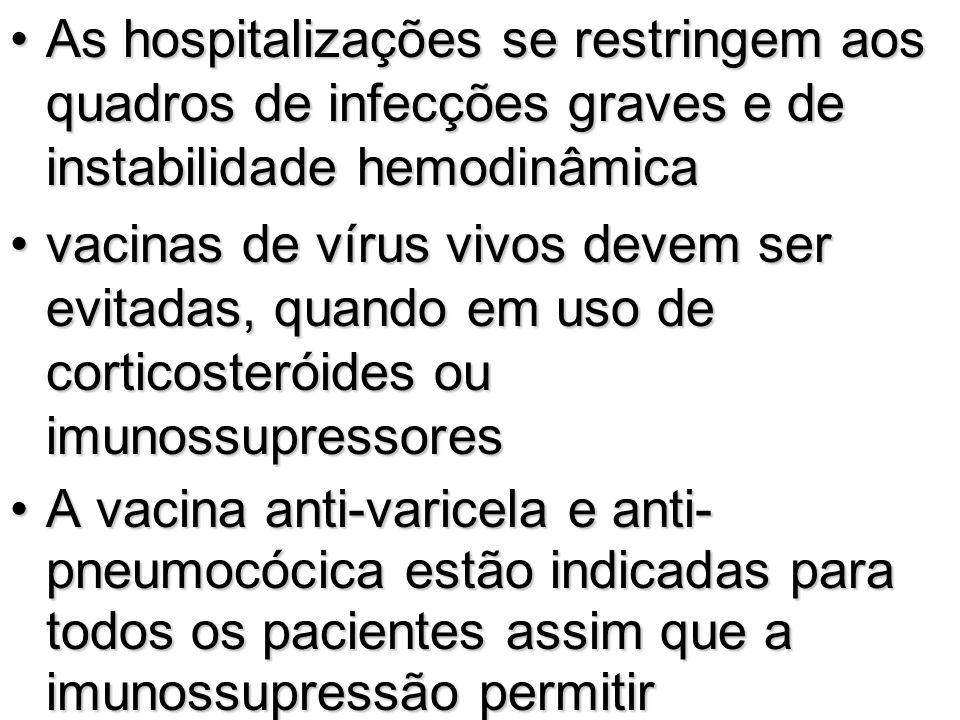 As hospitalizações se restringem aos quadros de infecções graves e de instabilidade hemodinâmicaAs hospitalizações se restringem aos quadros de infecç