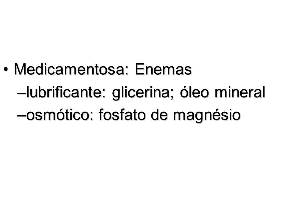 Medicamentosa: EnemasMedicamentosa: Enemas –lubrificante: glicerina; óleo mineral –osmótico: fosfato de magnésio