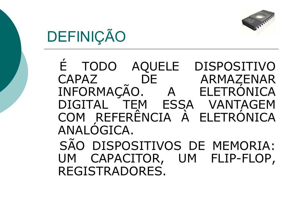 TERMOS BÁSICOS - Célula de memória – dispositivo ou circuito capaz de armazenar um bit.