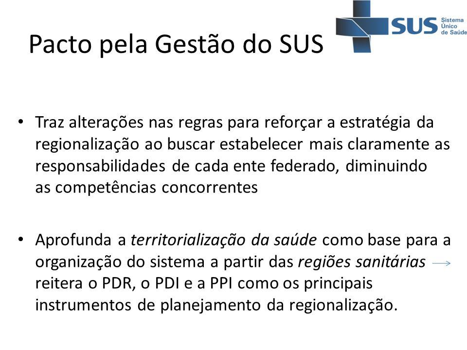 Pacto pela Gestão do SUS Traz alterações nas regras para reforçar a estratégia da regionalização ao buscar estabelecer mais claramente as responsabili